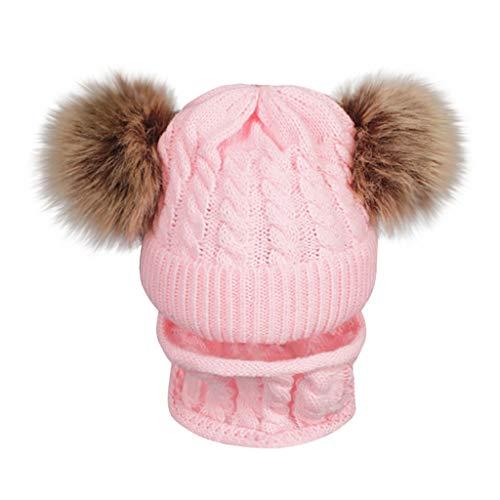 Bonnet Fille Et Snood Hiver Pompon Chaud Tricot en Laine Pas Cher A La Mode Unisex Chapeau Enfant Bebe Garcon Fille 1-6 Ans (1-6 Ans, Rose)