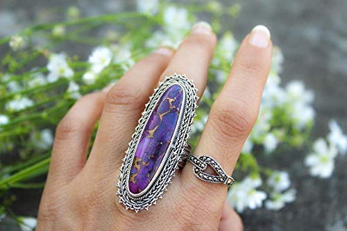 Purple Turquoise Ring in 925 Sterling Silver Sterling Ring Gift For Mother,Boho Ring Gypsy Ring Purple Turquoise Ring Silver
