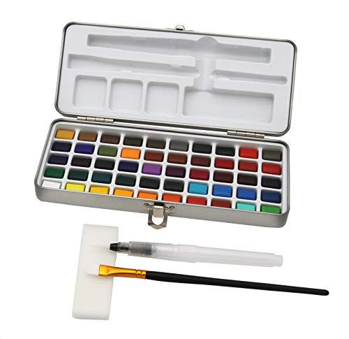 Paintersisters Aquarell Malkasten, Farbkasten mit 50 Farbtönen und Wassertank-Pinsel im Metallkasten, Wasserfarben-Set mit 50 Näpfchen