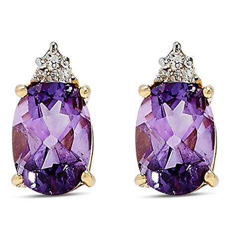 14K Yellow Gold Amethyst Earrings by Jewelry Bliss