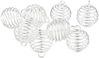 Housweety 20 SP Spiral Bead Cages Pendants Findings 25x20mm