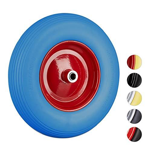 Relaxdays Schubkarrenrad 4.80 4.00-8, Vollgummireifen u. Stahlfelge, Ersatzrad pannensicher, 100kg Traglast, blau-rot, 1 Stück