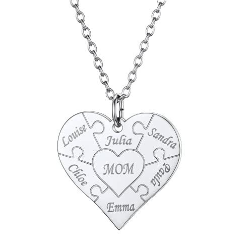 U7 Regalo cumpleaños Collar corazón Puzzle con 6 Nombres Personalizables para familias Colgantes Plateados Acero Inoxidable de Mujeres