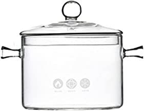 TOPBATHY 1L Glass Saucepan with Lid Heat- Resistant Thick Glass Cookware Set Clear Stovetop Pot for Pasta Noodle Soup Milk...