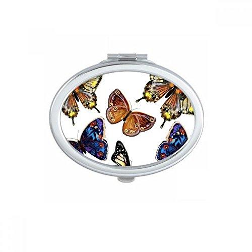 DIYthinker Bébé Rose et Bleu Papillon Collection Ovale Maquillage Compact Miroir de Poche Miroirs Mignon Petit Cadeau Portable à la Main Multicolor