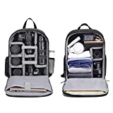 Cwatcun Camera Backpack DSLR SLR Camera Bag with 15.6 Inch Laptop Compartment for Canon Nikon Sony,Water Resistant Camera Backpack for Women and Men,Adjustable Tripod Holder,(Ⅱ Large Black)