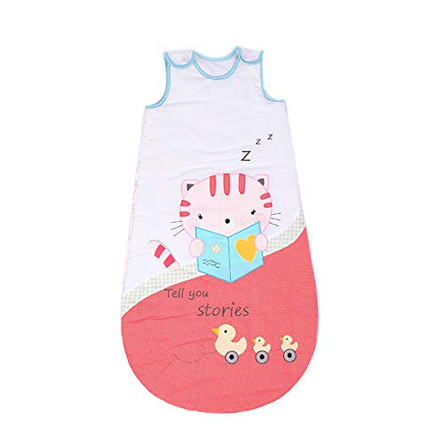 NFSQYDT Saco de Dormir sin Mangas para Bebé Suave Transpirable 2.5 TOG Súper Suave Saco Saco de Dormir sin Mangas Unisex para Bebés 0-24 Meses 2.5 TOG Cat-0 to 2 Years Old