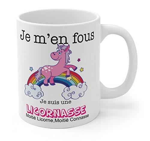 kdosublim - Taza con texto 'Je m'en fous Je suis une licornasse', diseño de unicornio