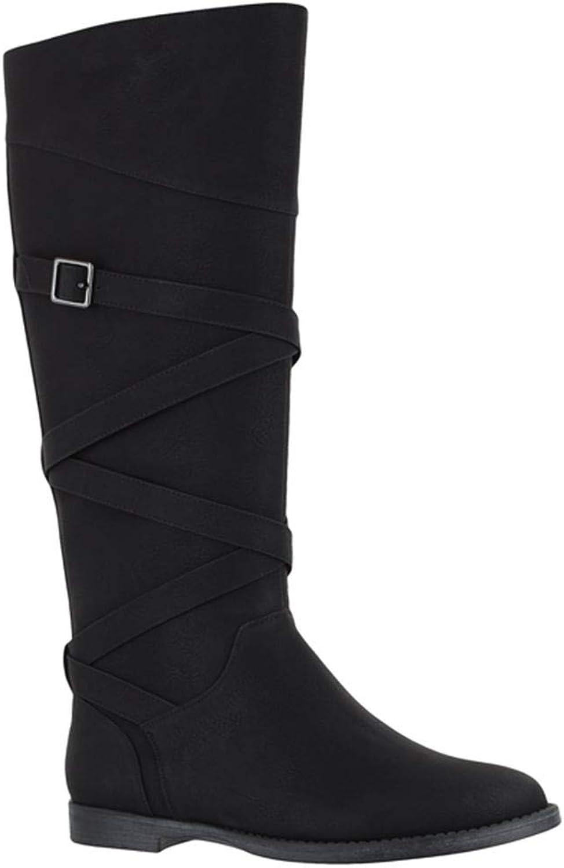 Easy Street Memphis Wide Calf Knee High Boots, Black