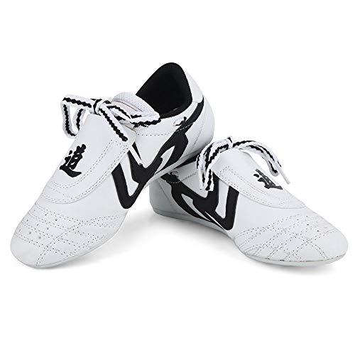 Zapatos de Taekwondo 10 Tamaños Suela de Goma Blanda Zapatillas de Deporte de Artes Marciales para Niños Hombres Kong Fu Taichi(28)