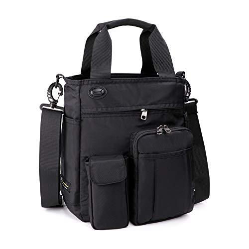 AMJ Small Shoulder Messenger Bag for Men & Women Multifunctional Crossbody Bag Business Laptop Bag for Travel/School Black