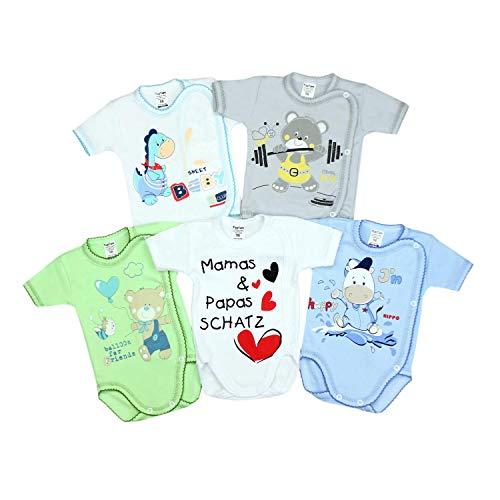 TupTam Unisex Baby Kurzarm Wickelbody mit Spruch 5er Pack, Farbe: Junge, Größe: 74