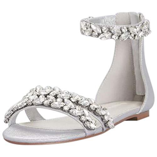 David's Bridal Jeweled Metallic Ankle Strap Flat Sandals Style Alessia, Silver Metallic, 11