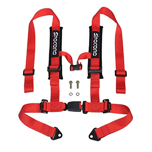 "Spocoro RH-0204RD-BK-1 4 Point Racing Harness with Ultra Soft Heavy Duty Shoulder Pads, Buckle with 2""Straps, Red(Pack of 1)"