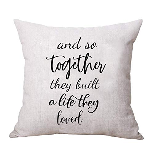 """ULOVE LOVE YOURSELF Home Decorative Throw Pillow Covers with Saying """"and So Together They Built a Life They Loved """" Farmhouse Decor Pillowcase 18×18 Inch Housewarming Gifts"""