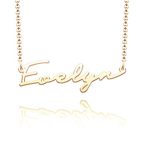 CLY Jewelry Name Necklace of Gold Plated Custom Made with Personalized Gift for Women Girls Couple Yellow