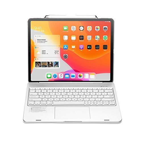 NVFED Funda para teclado con retroiluminación LED, Bluetooth, ruso/español/hebreo, para iPad Pro 12.9 2018 2020 (color: plata)