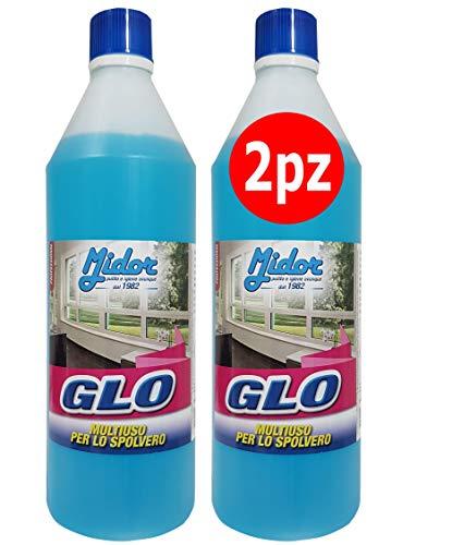 Detersivo per vetri GLO 2x1000ml, detergente per specchi e superfici trasparenti, azione sgrassante, no aloni - Midor