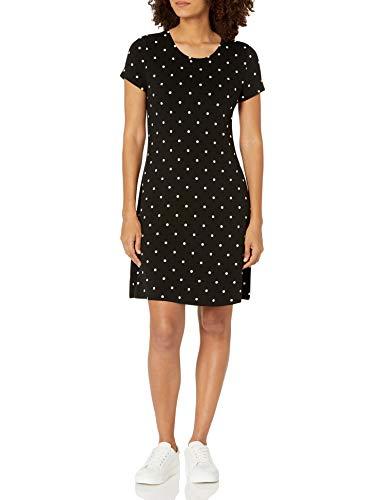 Amazon Essentials Short-Sleeve Scoopneck Swing Dress Vestido, Negro, Lunares, S