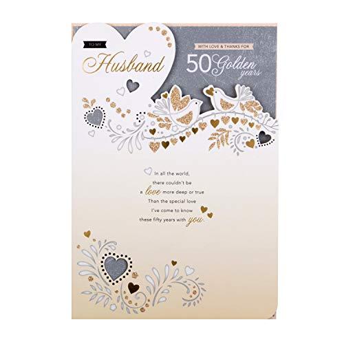 Hallmark - Tarjeta de felicitación de aniversario de boda para marido, diseño troquelado