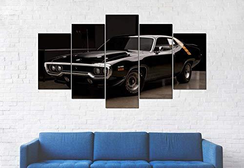 GSDFSD Art Enlienzo Póster Coche Deportivo Negro 5 Piezas Pared Mural para Decoracion Cuadros Modernos Salon Dormitorio Comedor Cuadro Impresión Piezasmaterial