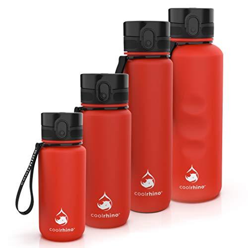 coolrhino Botella de agua de 1500 ml para deportes, exterior, escuela, fitness y niños, botella de agua antigoteo y libre de BPA, botella para ácido carbónico (Rhino Red, 1500 ml)