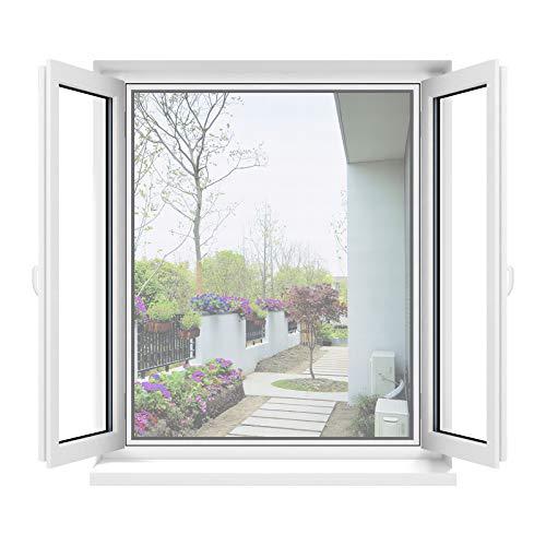 Apalus Moustiquaire Transparente Universelle pour Fenêtre, Maille Lavable, Moustiquaire Ajustable, Bricolage, Protection Contre les Moustiques et les Insectes (Lot de 2, Taille Max 100x100CM, Blanc)