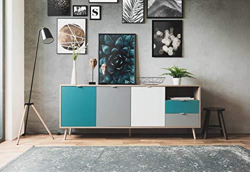 lifestyle4living Sideboard mit extravagant abgesetzten Fronten in weiß, grau und Petrol, Highboard mit 2 Schubladen und 3 Türen, 180 cm breit