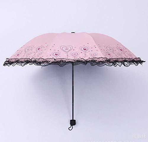 Regenschirm Faltender Weiblicher Vinylspitzeregenschirm Im Freien Uvregenschirm, Puder