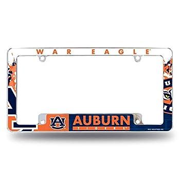 Rico Auburn University Tigers Chrome Metal License Plate Frame with Bold Full Frame Design