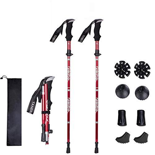 XDSP Bastones de Trekking bastón portátil telescópico antichoque para Caminar con bastón Plegable, Rápidas Plegables contra Golpes para Caminatas Aire Libre Trekking Escalada (Red*2) 2PCS