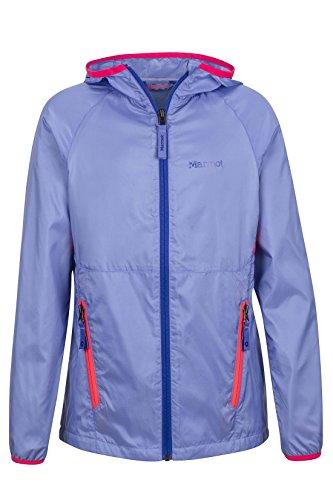 Marmot Ether Girls' Lightweight Hooded Windbreaker Jacket, Periwinkle, Medium