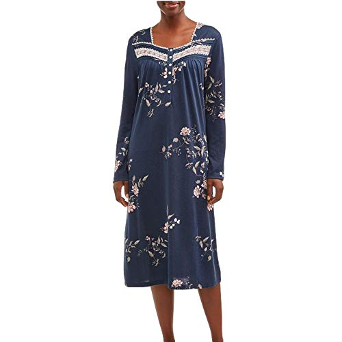 Secret Treasures Blue Cove Floral Print Long Sleeve Gown Nightgown - 4XL