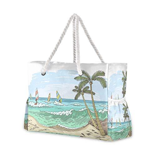 Bolsas de playa grandes Totes de lona Bolsa de hombro Sea Windsurf Color gráfico marino Resistente al agua Bolsas para gimnasio Viajes diario