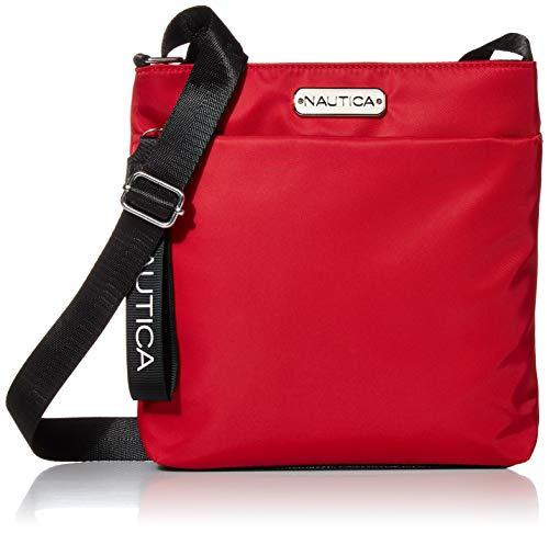 Nautica Diver Nylon Small Womens Crossbody Bag Purse with Adjustable Shoulder Strap, Red