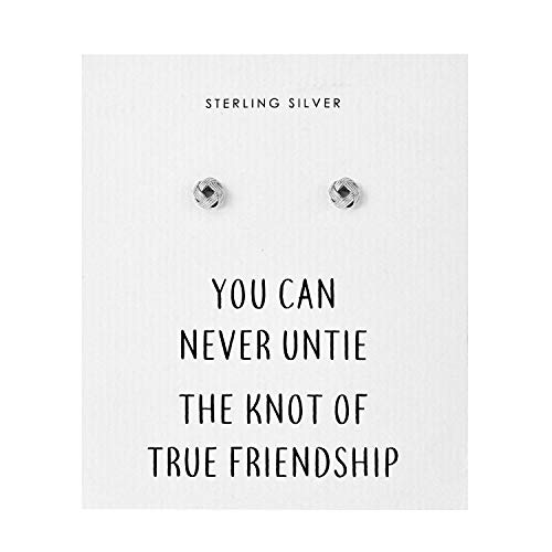 Sterling Silver Friendship Quote Knot Earrings
