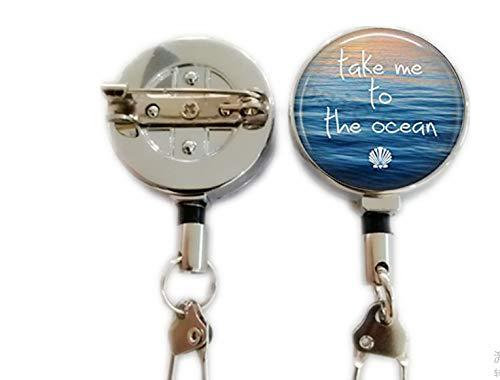 Ocean Hanger - take me to The Ocean - Summer Jewelry - Mermaid Jewelry - Summer Jewelry - Summer Beach,Retractable Badge Holder Carabiner Reel Clip On ID Card Holders