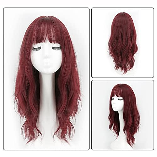 Pelucas Peluca para las mujeres largas pelucas onduladas con flequillo pelucas vino rojo largo pelucas de pelo rizado natural fluffy wig de 24 pulgadas para uso diario de la fiesta Decoración para el