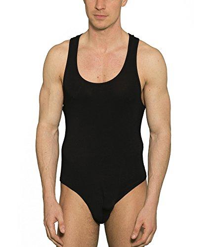 Doreanse Stringbody Herren Unterhemd Herrenbody Ringerrücken Mens Thong Bodysuit (L, 52/54, Schwarz)