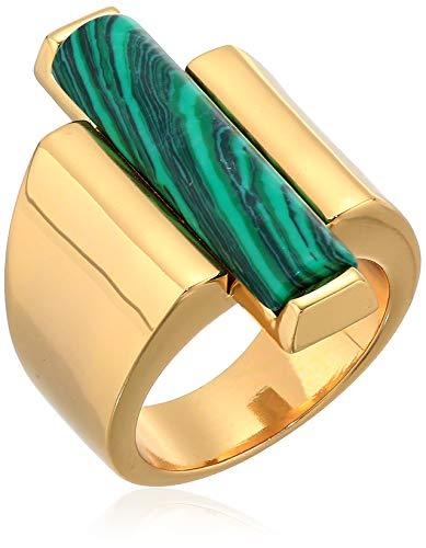 Ben-Amun Jewelry Women's Mod Gold-Tone Rectangle Malachite Stone Ring, Size 7