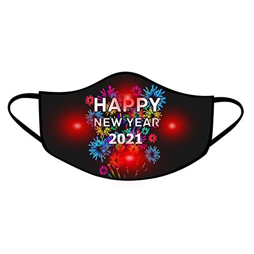 KASSD 2021 Happy New Year Face_Masks LED Light UP-Reusable Face Covering Dustproof Breathable Face Protection for Party Bar Men and Women Indoor Outdoor