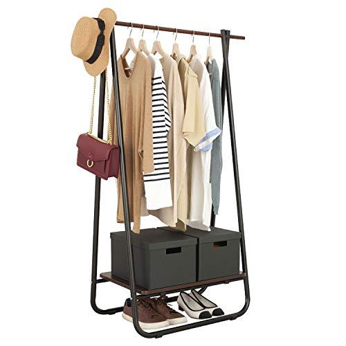 Metal Clothing Garment Rack with Wood Storage Shelf, Freestanding Closet in Black and Dark Brown
