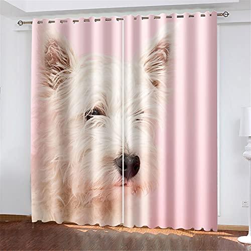 FACWAWF Cortinas Suaves Aislantes del Calor con Forma De Perro Impresas En 3D para Cortinas De Dormitorio Y Sala De Estar De Niños 150x166cm(2pcs)