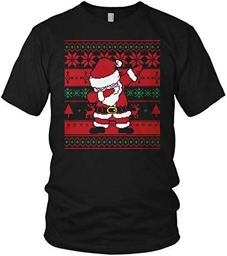 Dabbing Ugly Christmas Santa Claus Dress DAP Xmas Strickmuster Weihnachtsmann - Weihnachten Geschenk - Herren T-Shirt und Männer Tshirt, Größe:XL, Farbe:Schwarz