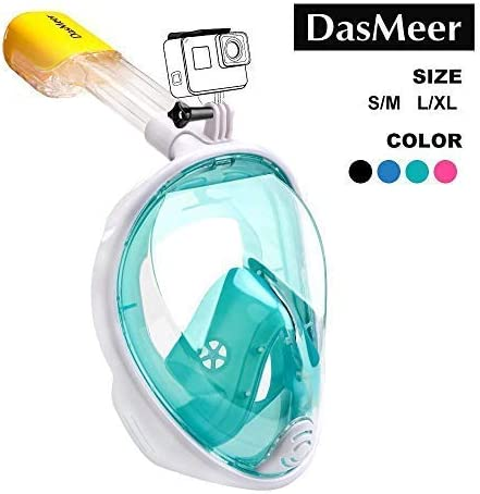 Full Face Snorkel Mask,DasMeer Seaview 180°GoPro Compatible Mask with Adjustable Head Straps & Easy Breathing & Anti-...
