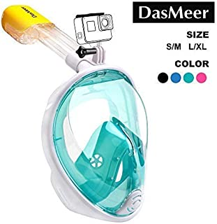 Full Face Snorkel Mask,DasMeer Seaview 180°GoPro Compatible Mask with Adjustable Head Straps & Easy Breathing & Anti-Fog A...