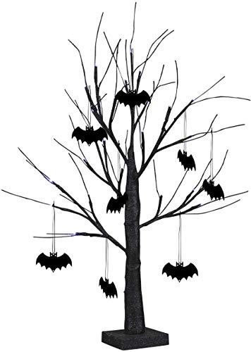 EAMBRITE 60CM 24LT Lampara de Árbol de Mesa Brillo Espeluznante con 8pcs Murciélago Colgantes Decoración de Halloween Funciona con Pillas para Interior