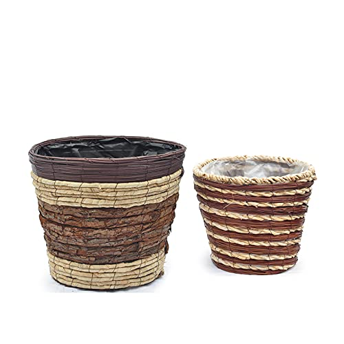 2 cestas de mimbre natural de 30 cm de diámetro de 35 cm, recipientes de macetas naturales, cubierta de maceta tejida a mano con forro de plástico a prueba