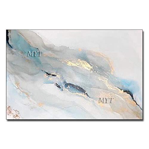 KKCV Cuadro en acrílico La Cascada Azul Que Fluye Pintura al óleo Abstracta Pintado a Mano Pinturas Modernas sobre Lienzo Arte de la Pared Decoración del hogar Hermoso 100 cm x 160 cm sin Marco