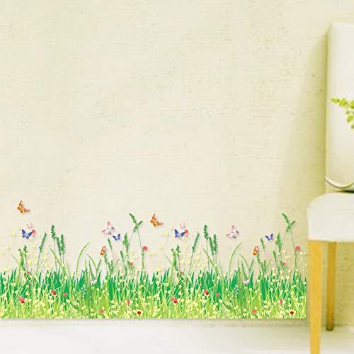 Zócalo hierba impermeable extraíble arte vinilo pared pegatina decoración niños zócalo salón dormitorio dormitorio mural calcomanía decoración del hogar